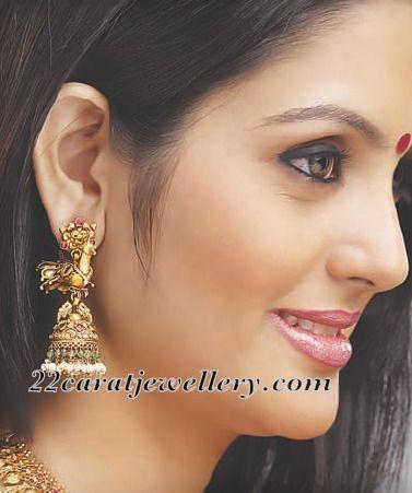 Malabar Gold Antique Jhumka | Traditional Gold Jhumkas