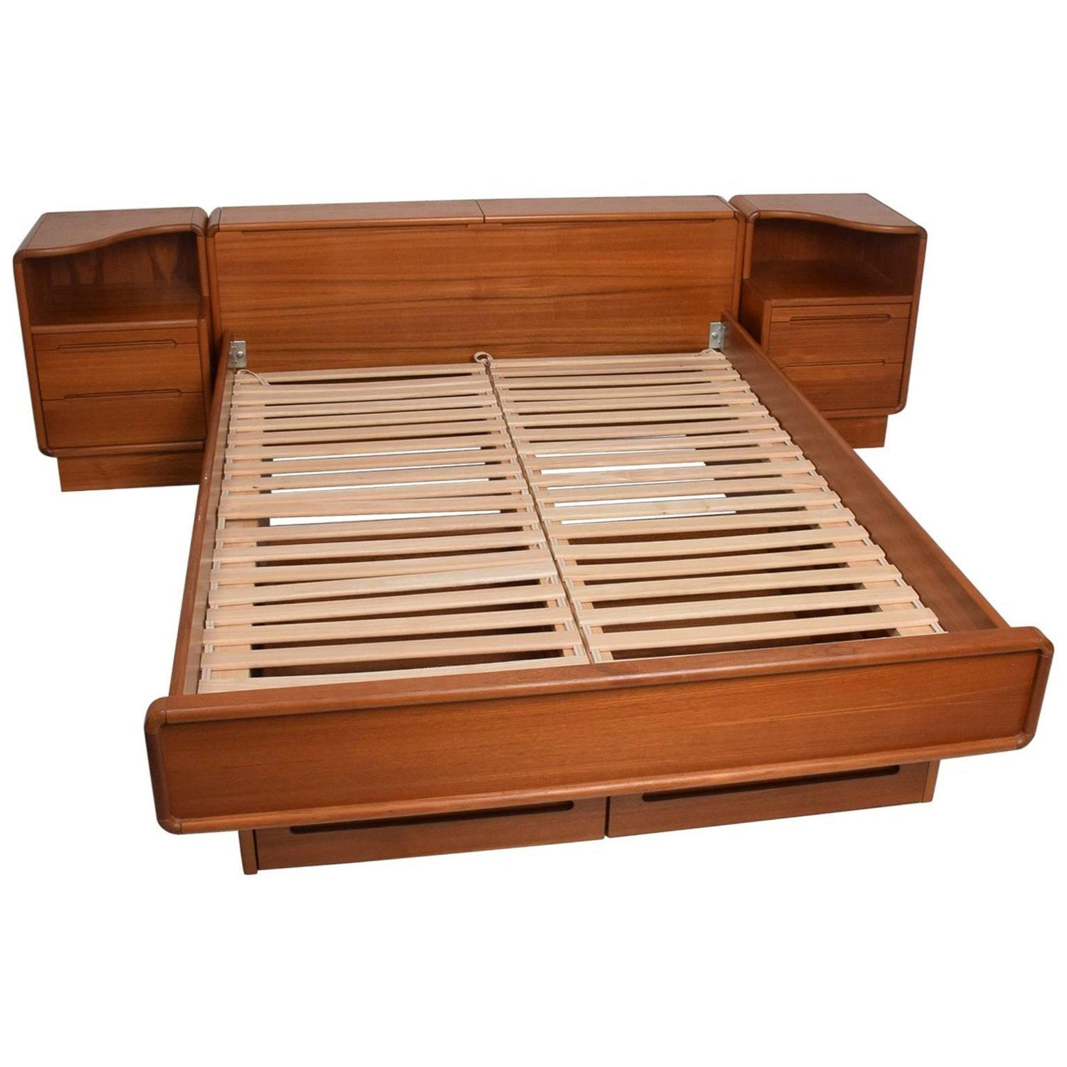 Danish Modern Teak Platform Bed QueenSize with