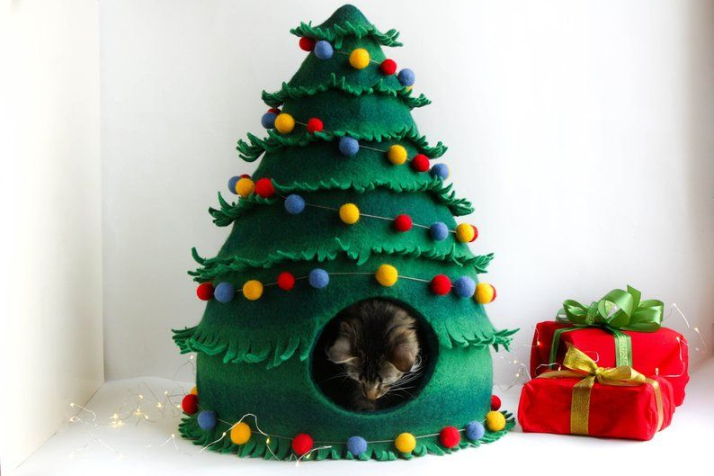 Photo of Cat bed, cat cave, cat house felted Christmas tree, Christmas decoration, Christmas gift for pet, eco-friendly natural wool pet furniture