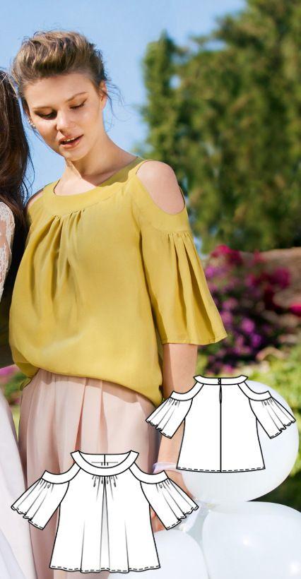 Cold Shoulder Blouse Burda Mar 2017 #116B   http://www.burdastyle.com/pattern_store/patterns/cold-shoulder-blouse-032017
