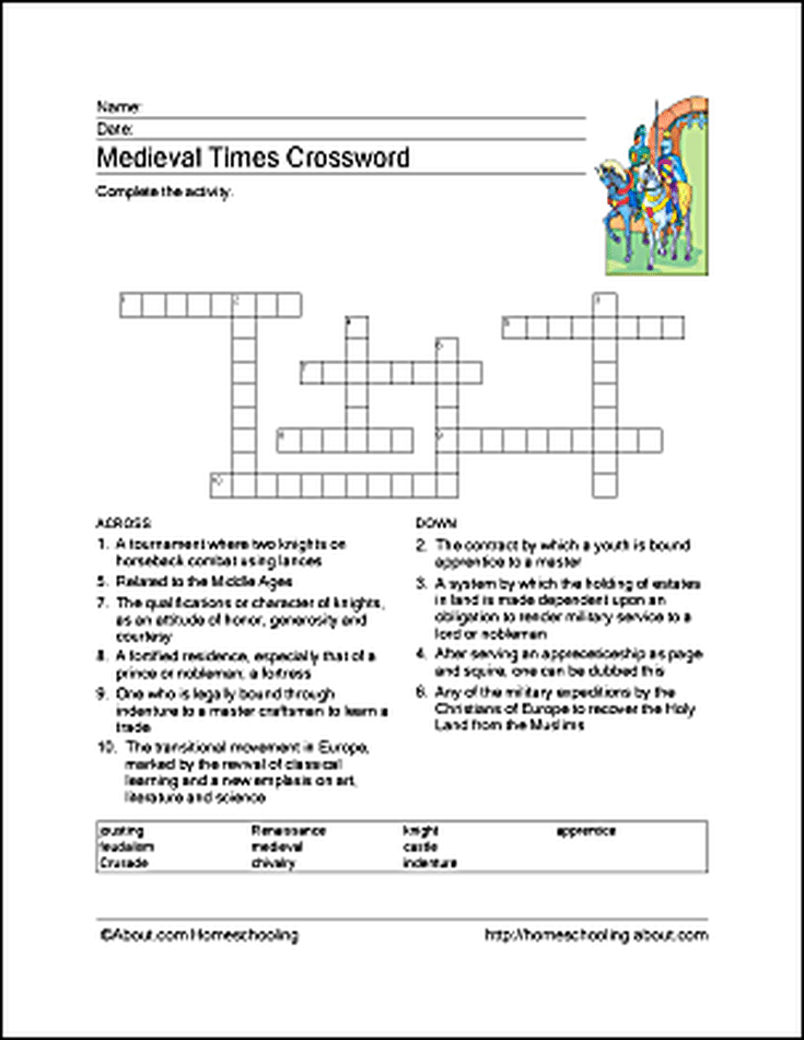 Medieval Times Wordsearch Crossword Puzzle And More