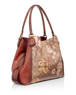Edie Signature Canvas Prairie Floral Print Shoulder Bag Shoulder