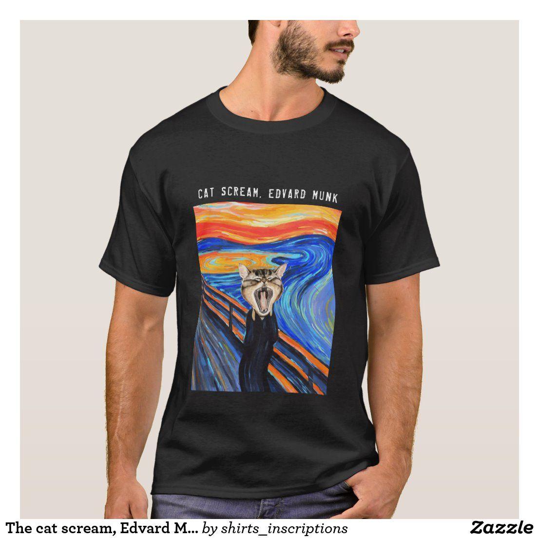 The cat scream, Edvard Munch. Memes Funny T-Shirt   Zazzle