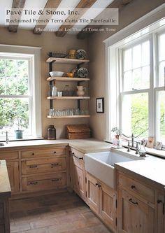 French Reclaimed Terra Cotta Tile Parefeuille - eclectic - kitchen - new york - Pave Tile & Stone, Inc. European Flooring
