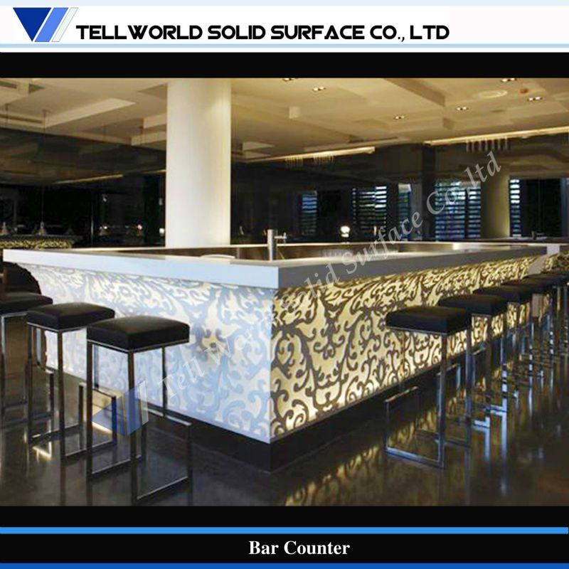 Tw Led Lighting Design Artificial Stone Commercial Bar Counter   Buy Wine Bar  Counter Design,