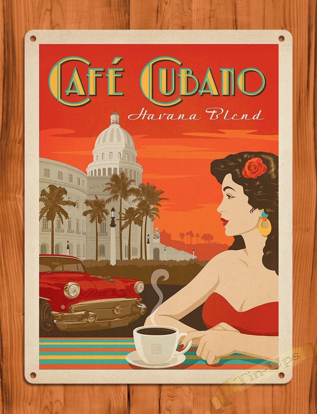vintage posters for kitchen ikea sets tin sign quotcafe cubano quot havana blend coffee