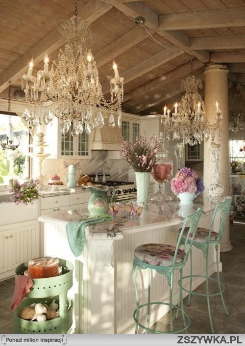 Kuchnia Z Barkiem Sniadaniowym Shabby Chic Kitchen Chic Kitchen Home Decor