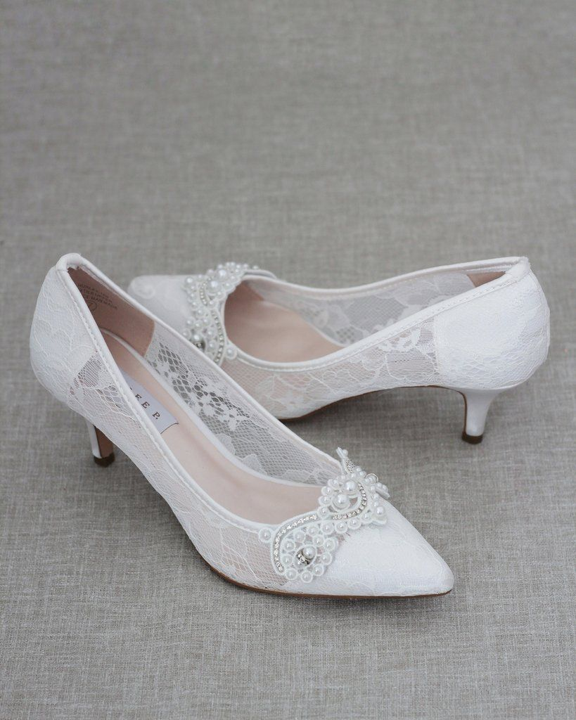 White New Lace Pointy Toe Kitten Heels With Pearls Applique Classic Wedding Shoes Wedding Shoes White Pumps Wedding Shoes Heels