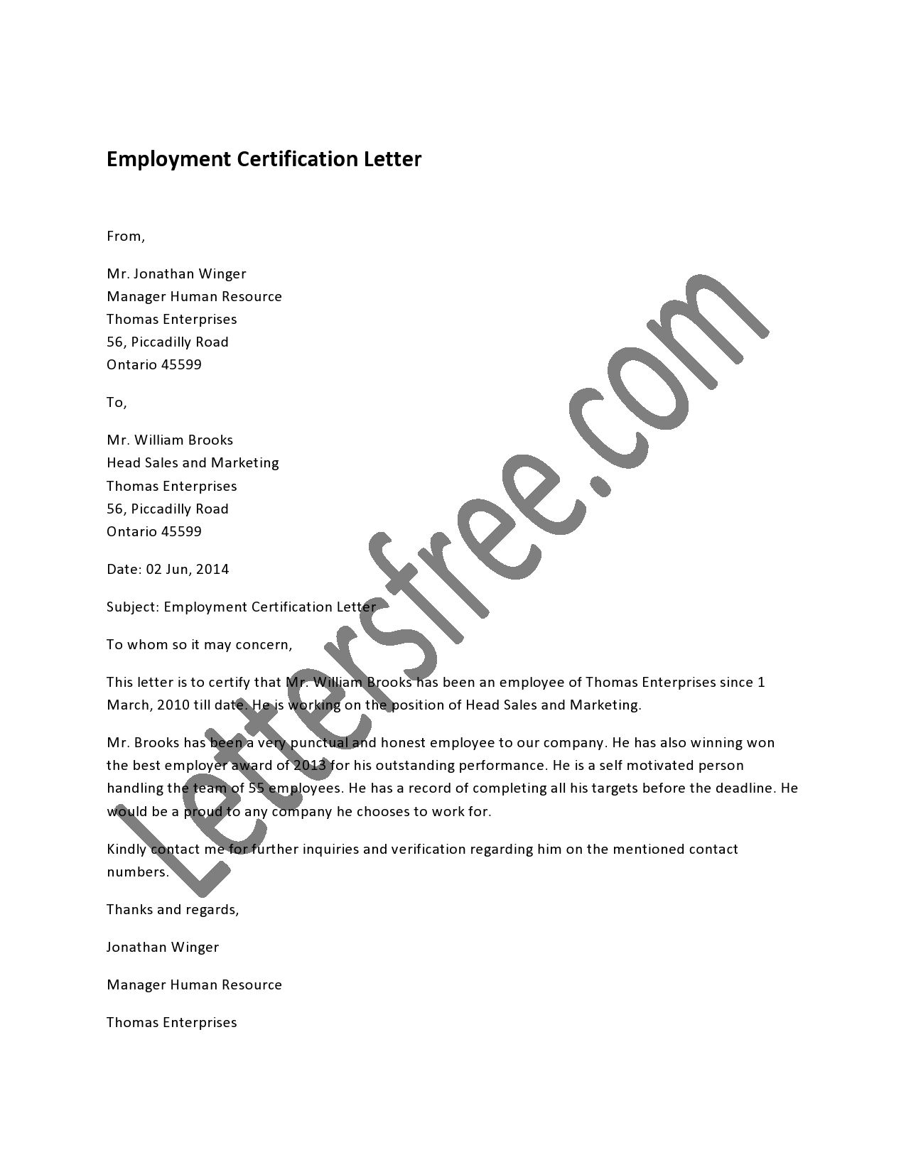 Employment certification letter is written to certify a