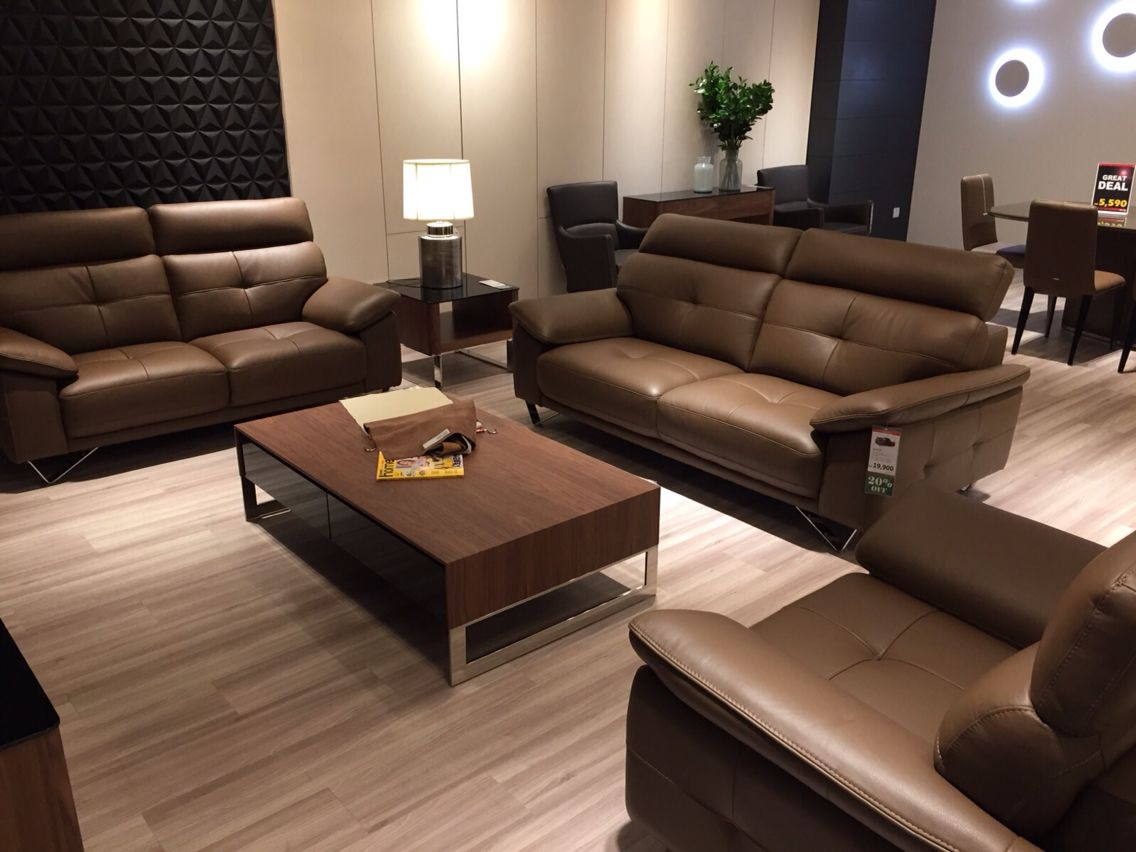 Dark Brown Leather Sofa With High Legs