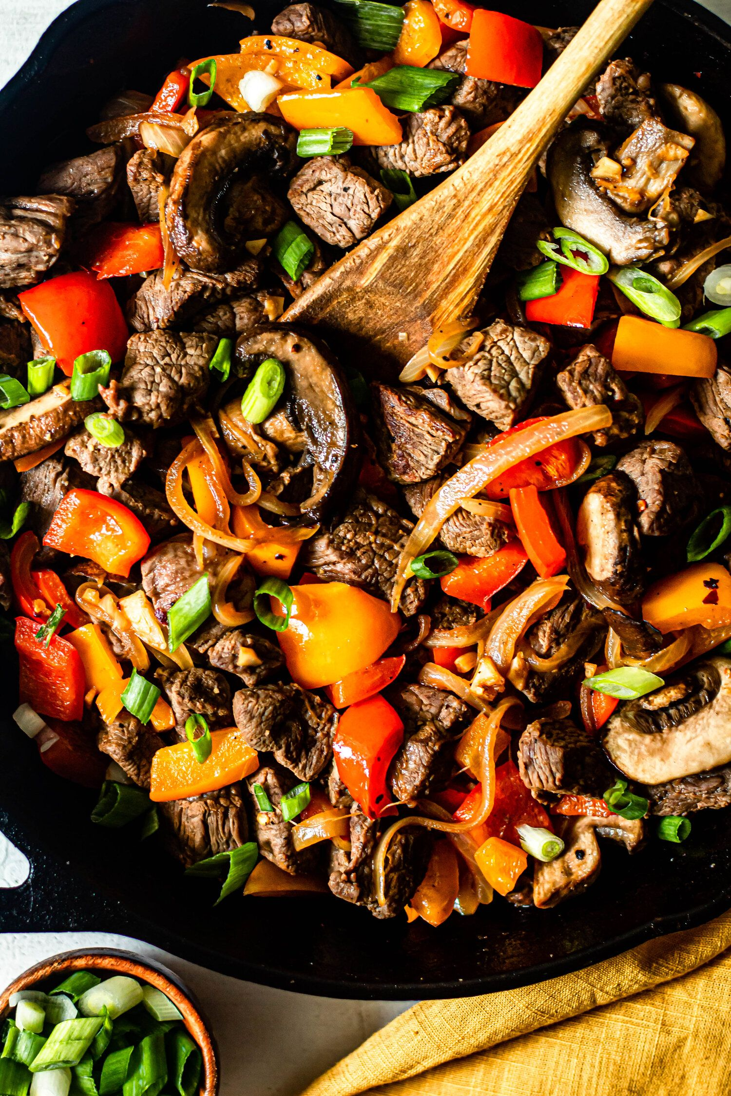 Photo of One Skillet Beef Tips with Peppers and Onions