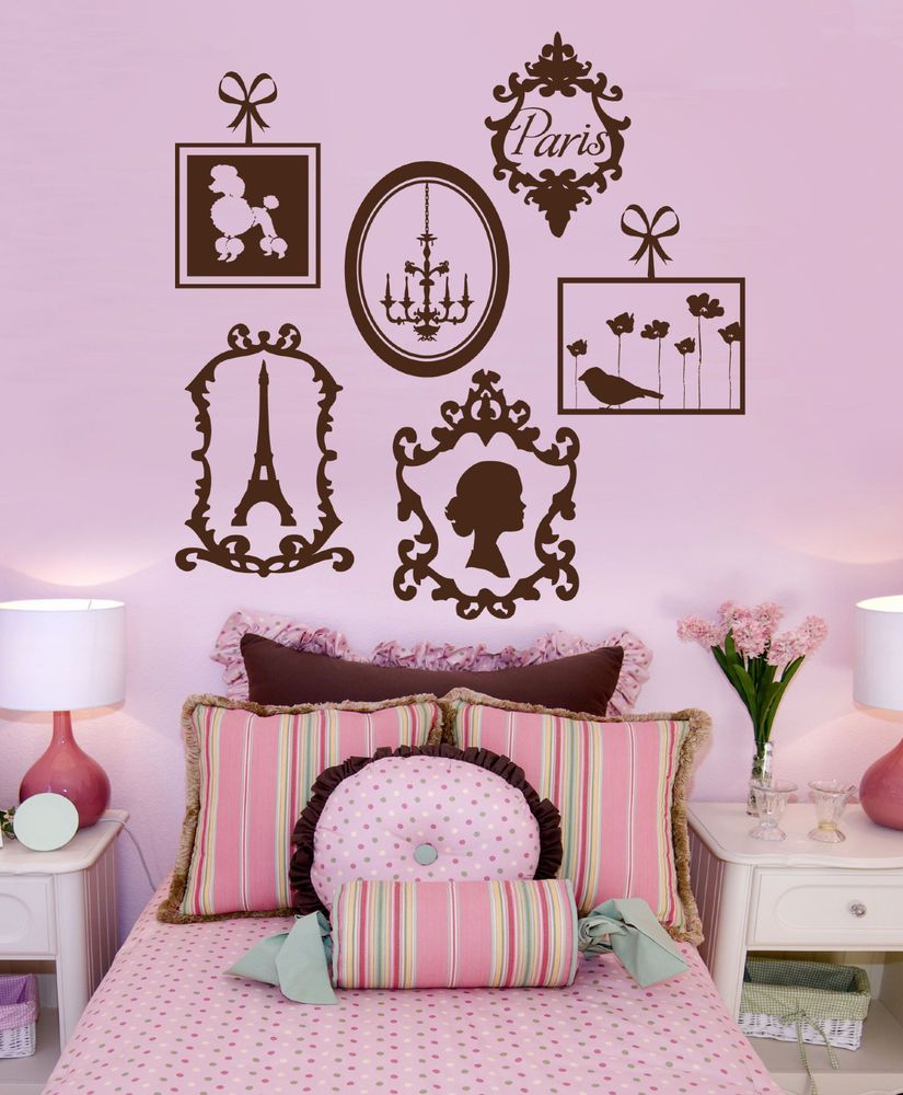 Paris Vinyl Wall Decals- French Frame Collage Graphics ...