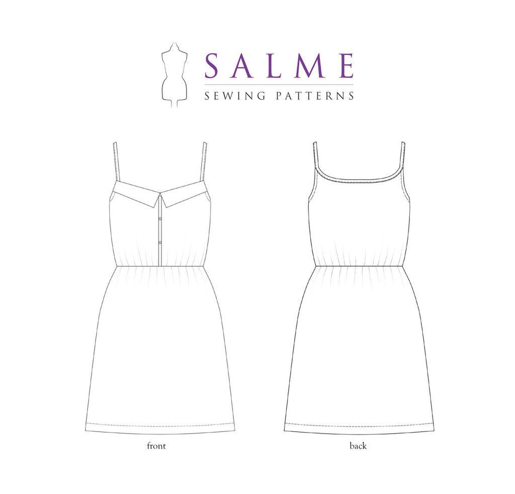 Digital Sewing Pattern - Sundress – Salme Sewing Patterns | Sewing ...