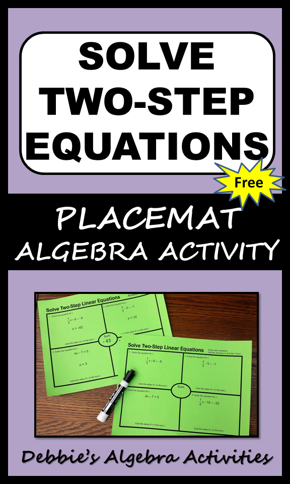 This FREE Algebra activity includes practice solving two-step linear ...