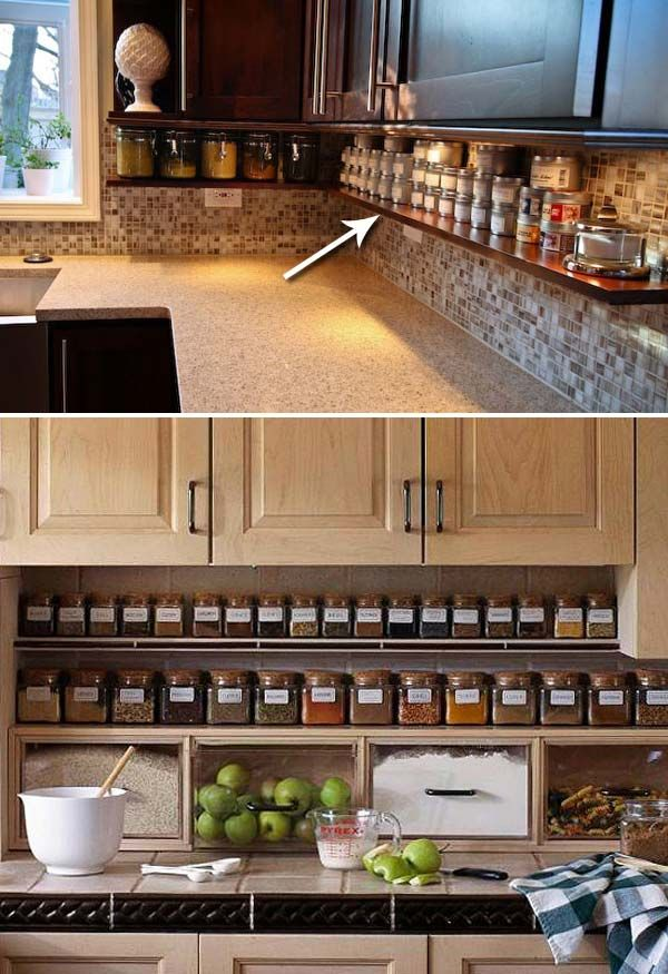 Add a spice shelf underneath the cupboards to beat one of the biggest source of clutter – spices storage: #smallkitchenorganization
