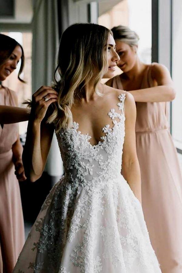 A-line Vintage Lace WEDDING DRESSES Illusion Neck Wedding Dresses WD318 Tirdresses aline lace weddin #vintageguitars