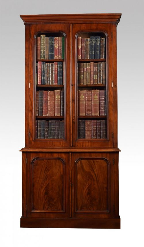 Vintage Furniture Glass Living Room Showcase Design Wood: Victorian Two Door Mahogany Bookcase …