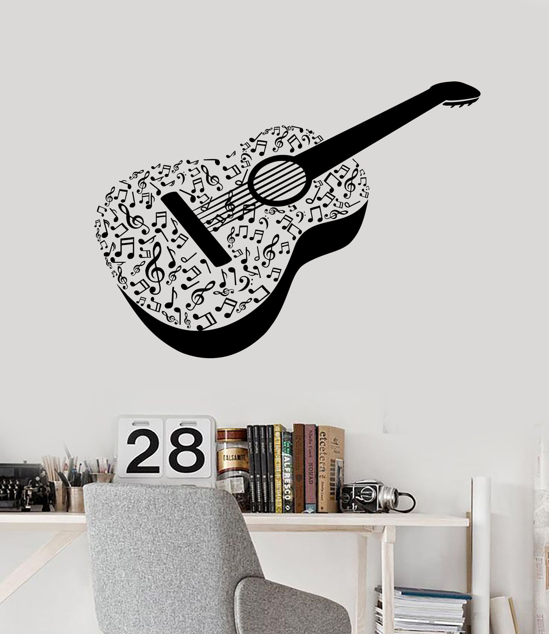 Vinyl Wall Decal Acoustic Guitar Notes Musical Instrument Stickers Unique Gift Ig4509 Vinyl Wall Decals Music Wall Decal Vinyl Wall