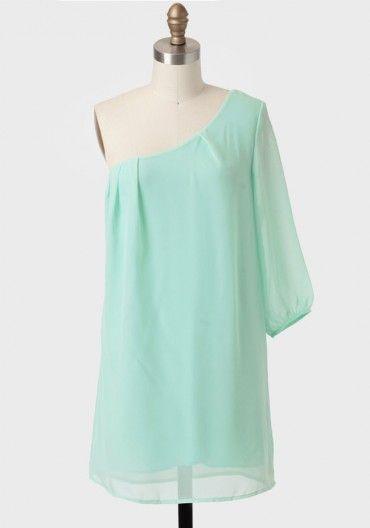 Spanish Coast One-shoulder Dress In Mint   Modern Vintage Dresses   Modern Vintage Clothing