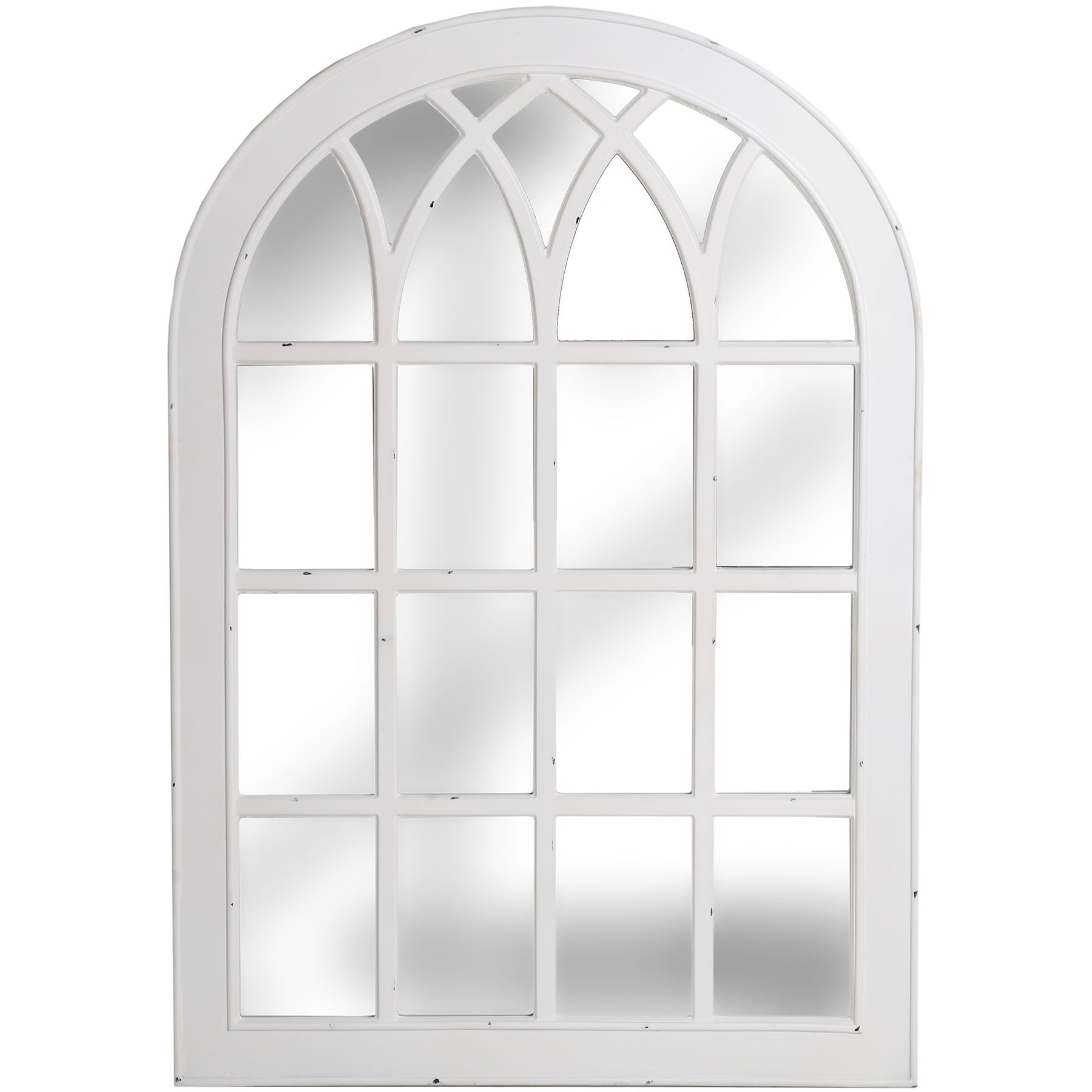 Antique White Arched Window Mirror  Melody Maison