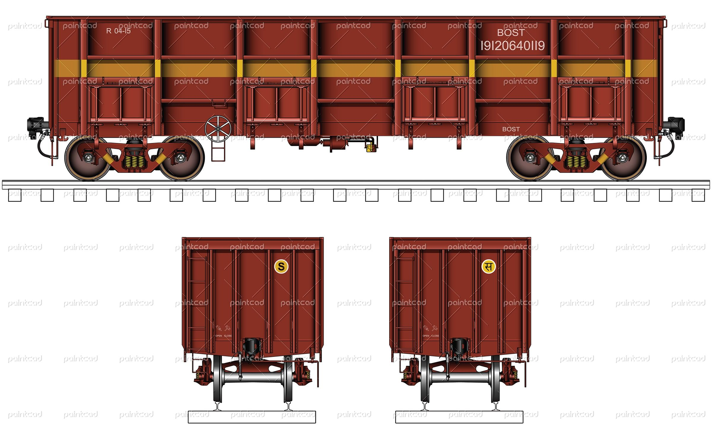 """Vector illustration of bogie open wagon type """"BOST"""" used"""