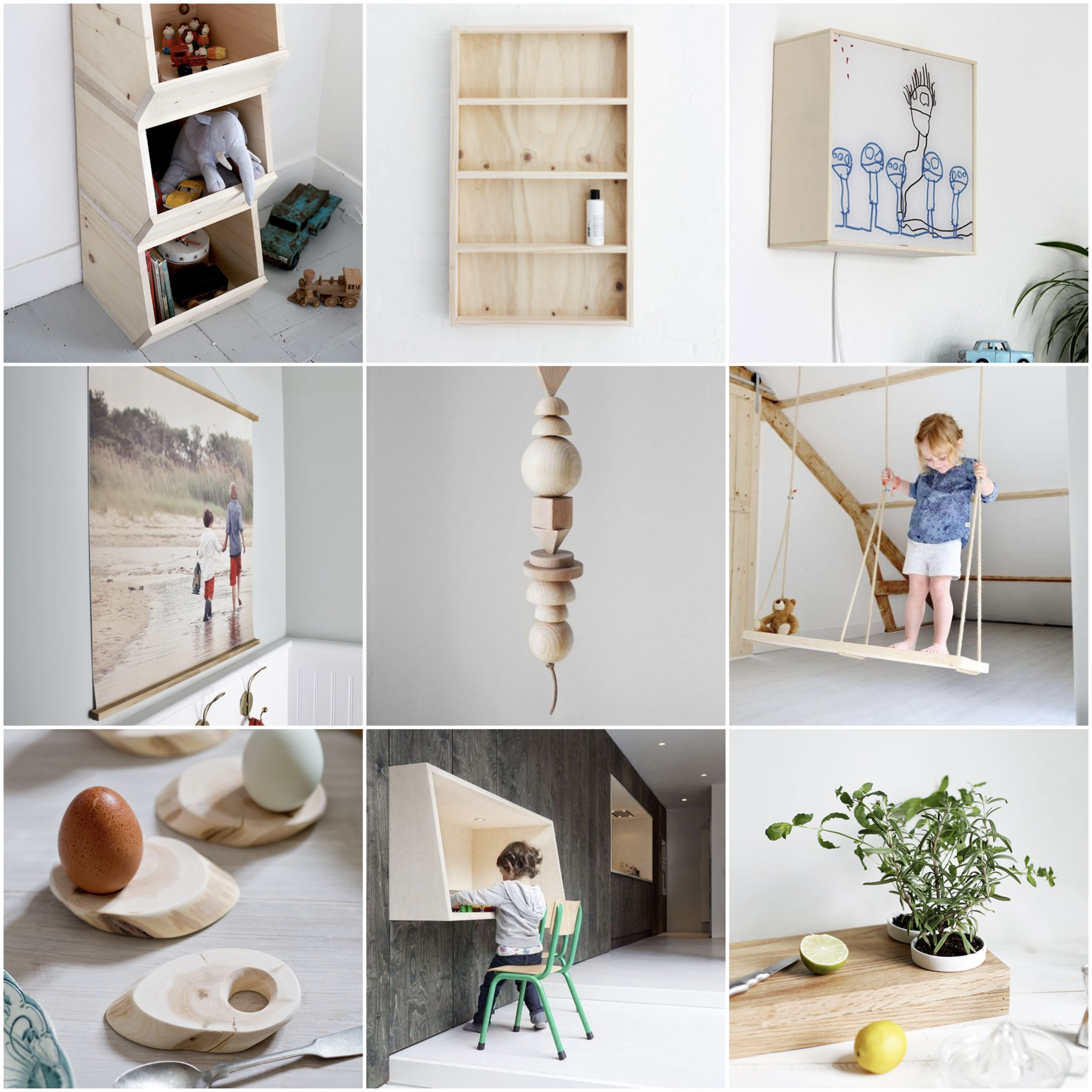 Inspiration // 12 Einfach DIY Ideen Aus Holz Fürs Kinderzimmer Und Den Rest  Der Wohnung. Spielzeugaufbewahrung, Holzschaukel Und Kindertisch Selbst  Machen