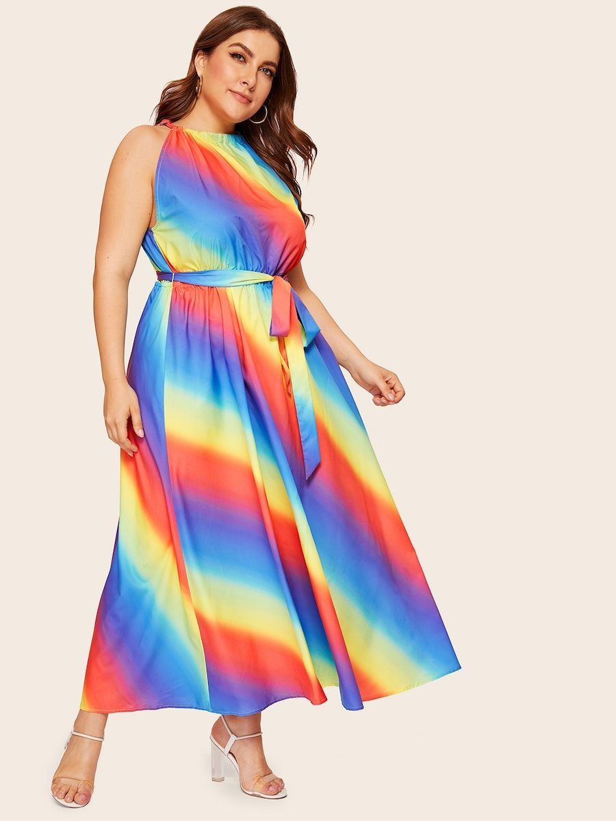 Plus Halterneck Rainbow Ombre Dress With Belt Shein Plus Dresses Ombre Dress Maxi Dress Party [ 1199 x 900 Pixel ]