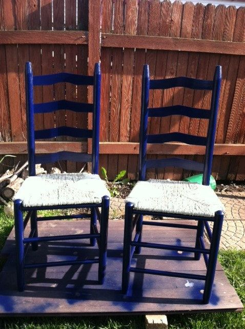 Blue And Cream Colored Ladder Back Chairs By Hilltopblake 70