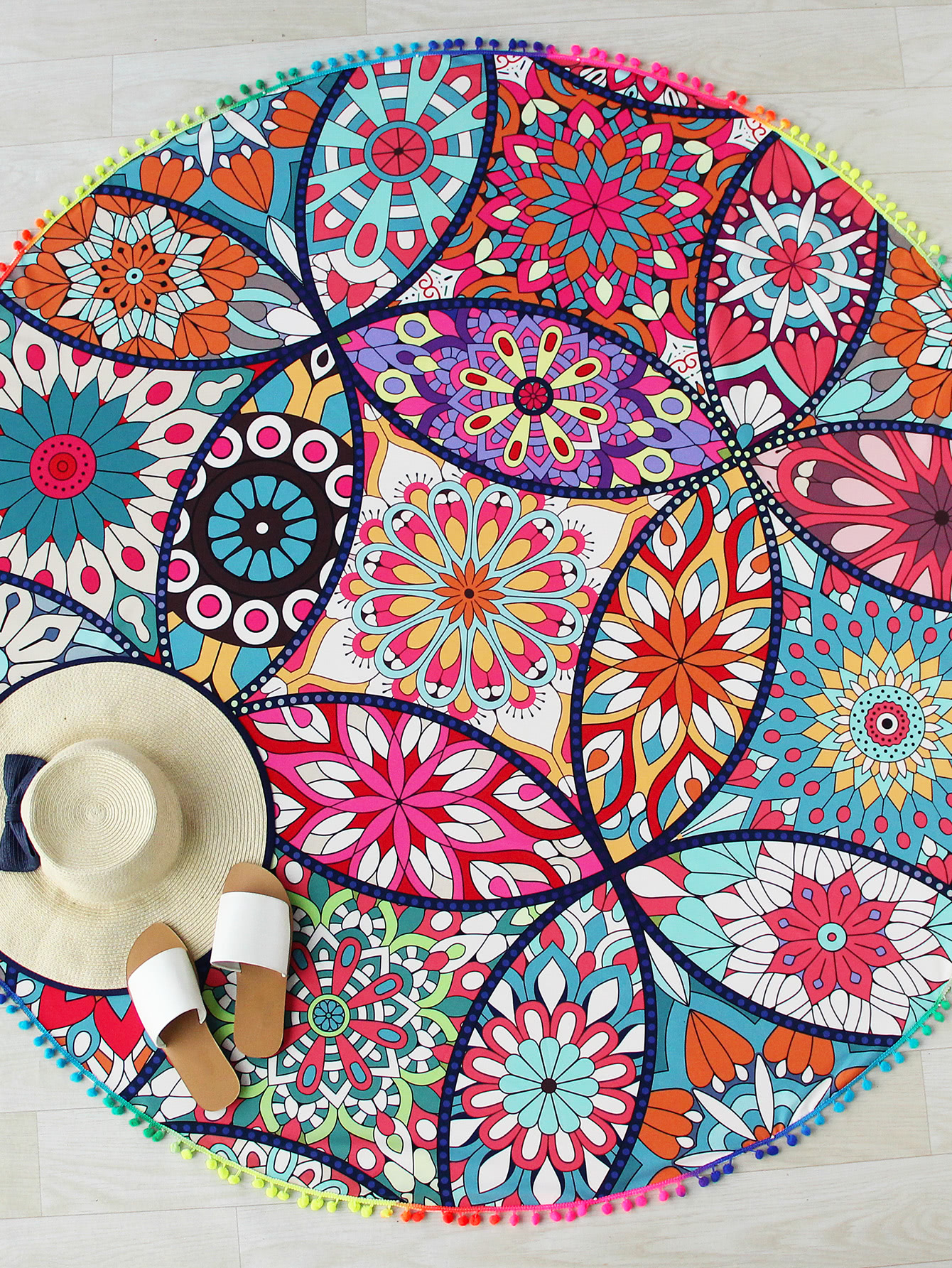 48ad4d6bc0 Shop Calico Print Pom Pom Trim Round Beach Blanket online. SheIn offers  Calico Print Pom Pom Trim Round Beach Blanket & more to fit your  fashionable needs.