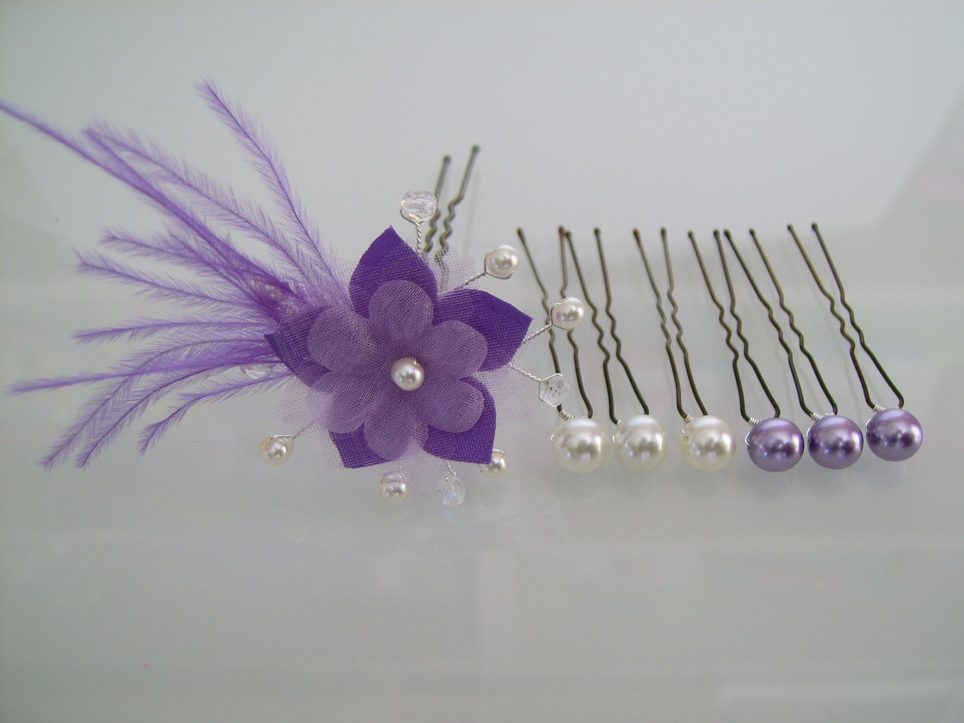 Lot Pic Bijou Epingles Pinces Chignon Cheveux accessoire Violet Mauve Parme   Ivoire p robe Mariée Mariage Soirée ( ou blanc ivoire) Fleur Plume ... 82c4995e8f1d