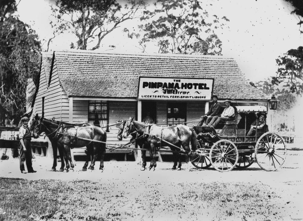 Cobb and Co. carriage outside the Pimpama Hotel, ca. 1875