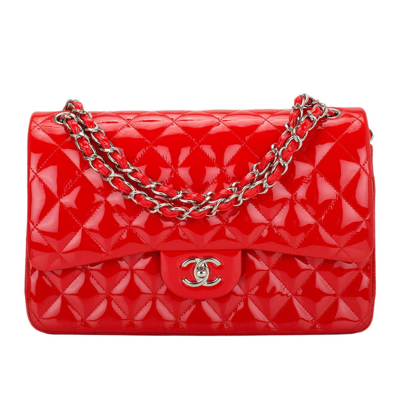 Chanel Bright Red Quilted Patent Jumbo Classic Double Flap Bag