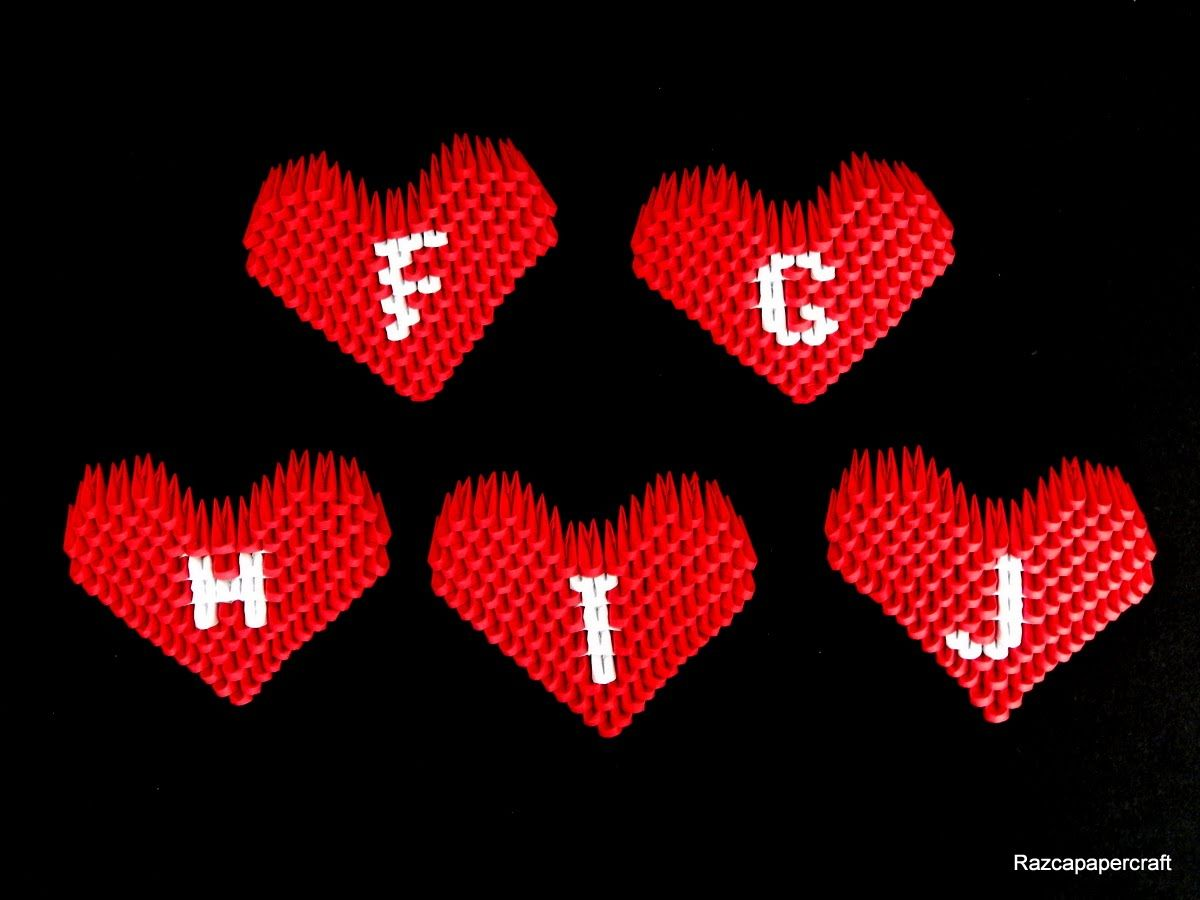 3d Origami Small Heart Tutorial Letters F J