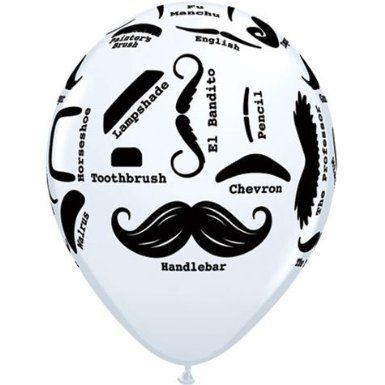 """Amazon.com: 11"""" Mustache Styles Around Latex Balloons (10 per package): Toys & Games"""