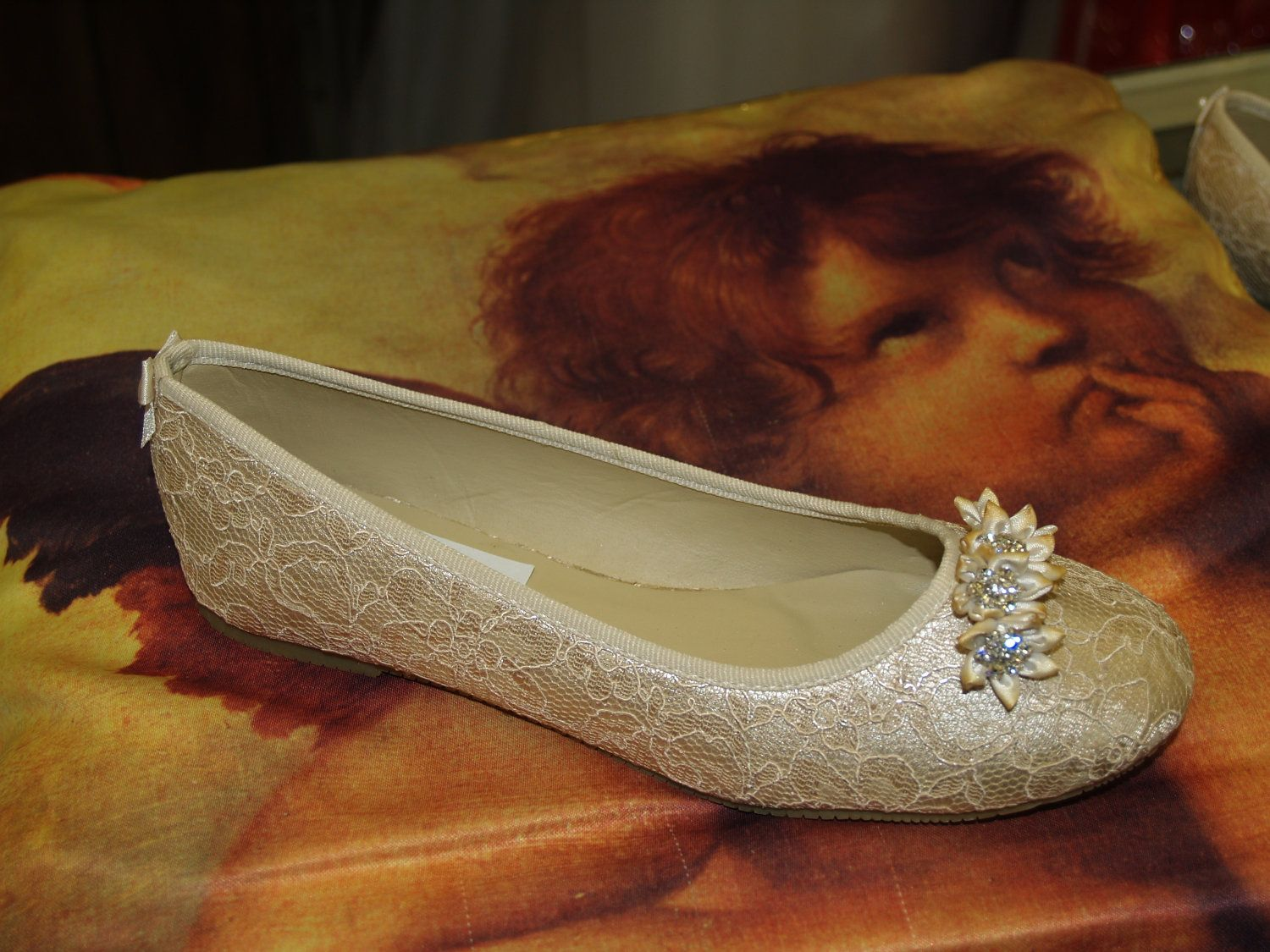 Bridal Flat Shoes Champagne Or Ivory Color Lace Overlayed And Satin Flowers With Crystals Trim