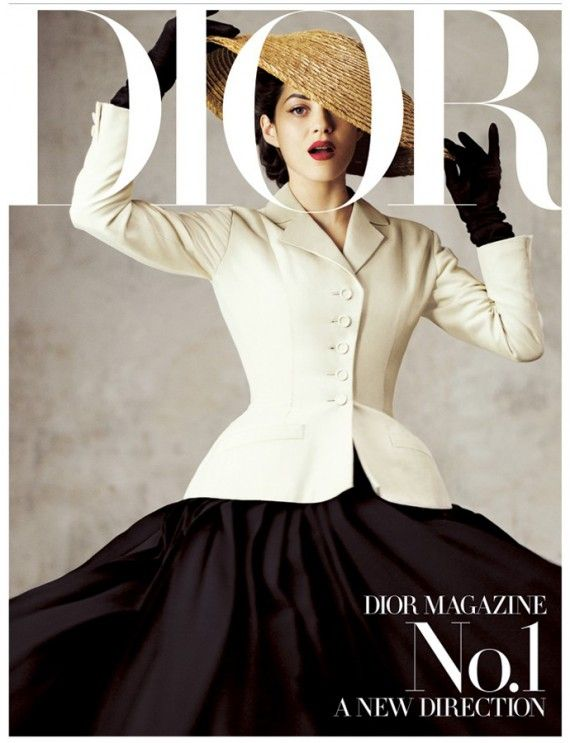 "//Jean-Baptiste Modino photographes actress Marion Cotillard for Dior Magazine's first issue, ""wearing the house's original Bar jacket and flaring skirt from 1947."""
