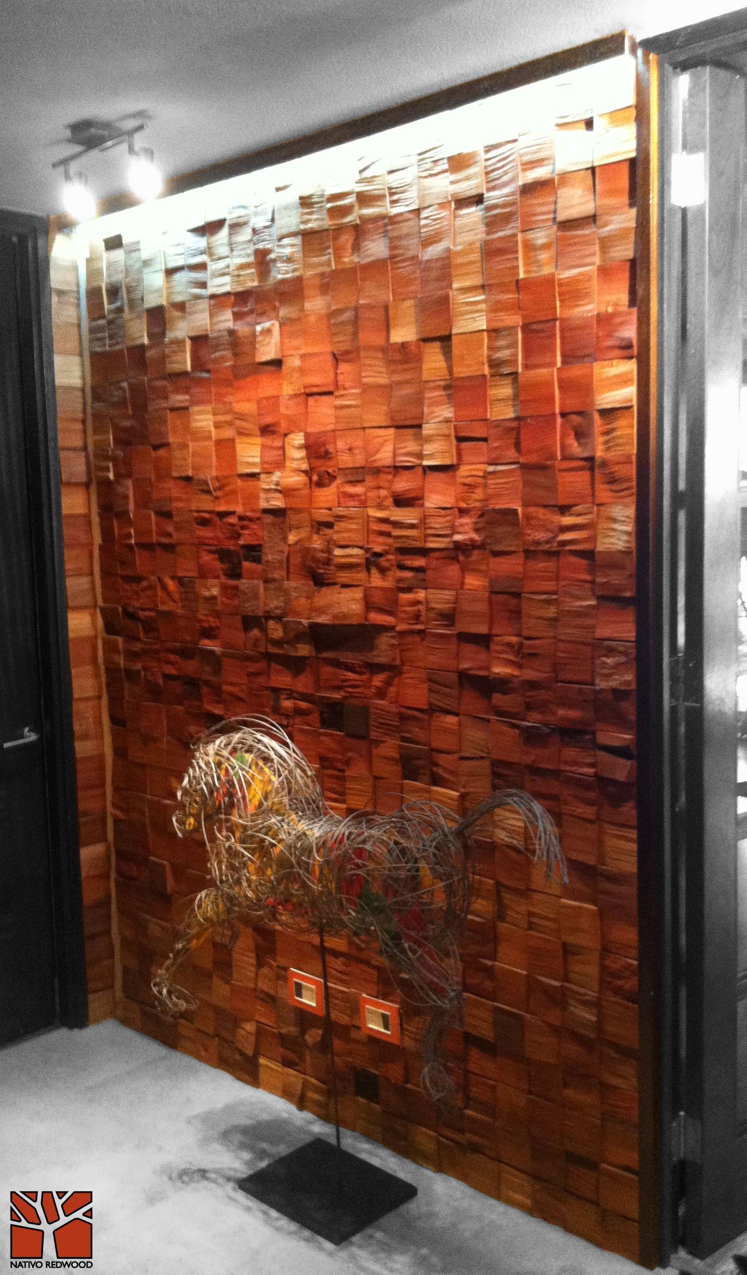 Nativo Redwood Revestimiento Muro Mosaicwood De Tacos De