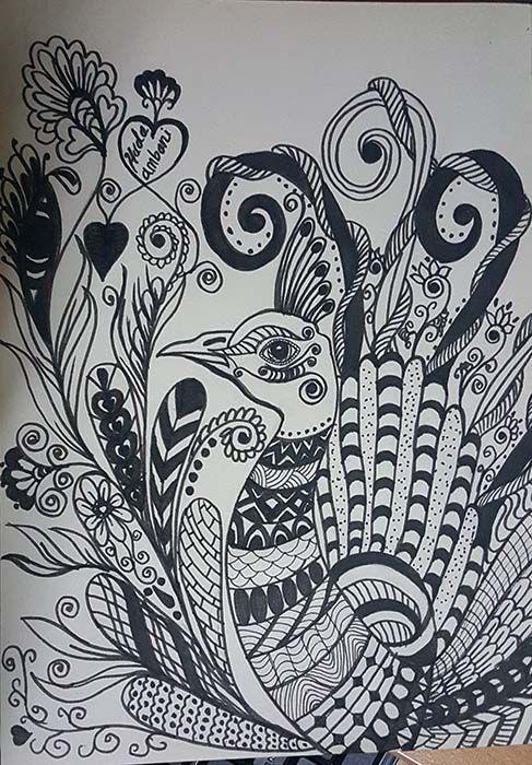 doodles , zentangle - peacock