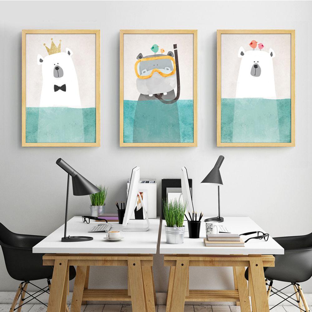 ALI: Günstige Moderne Leinwand Malerei Kunst Nordic Kawaii Tiere ...