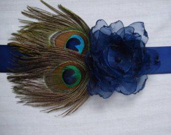 Peacock Wedding Bridal Sash or Belt Peacock Bridesmaid by Axentz