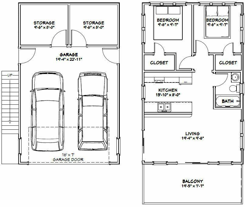 20x32 House 2 Bedroom 412 Roof Pitch PDF Floor