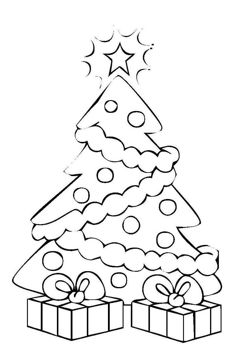 ausmalbild weihnachten: weihnachtsbaum mit geschenken