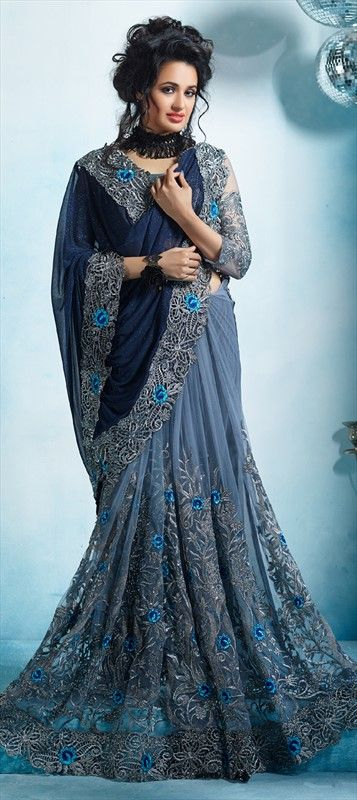 8b941b22162c25 732903 Black and Grey, Blue color family Embroidered Sarees, Party Wear  Sarees in Lycra, Net fabric with Border, Machine Embroidery, Resham, Stone,  Thread, ...
