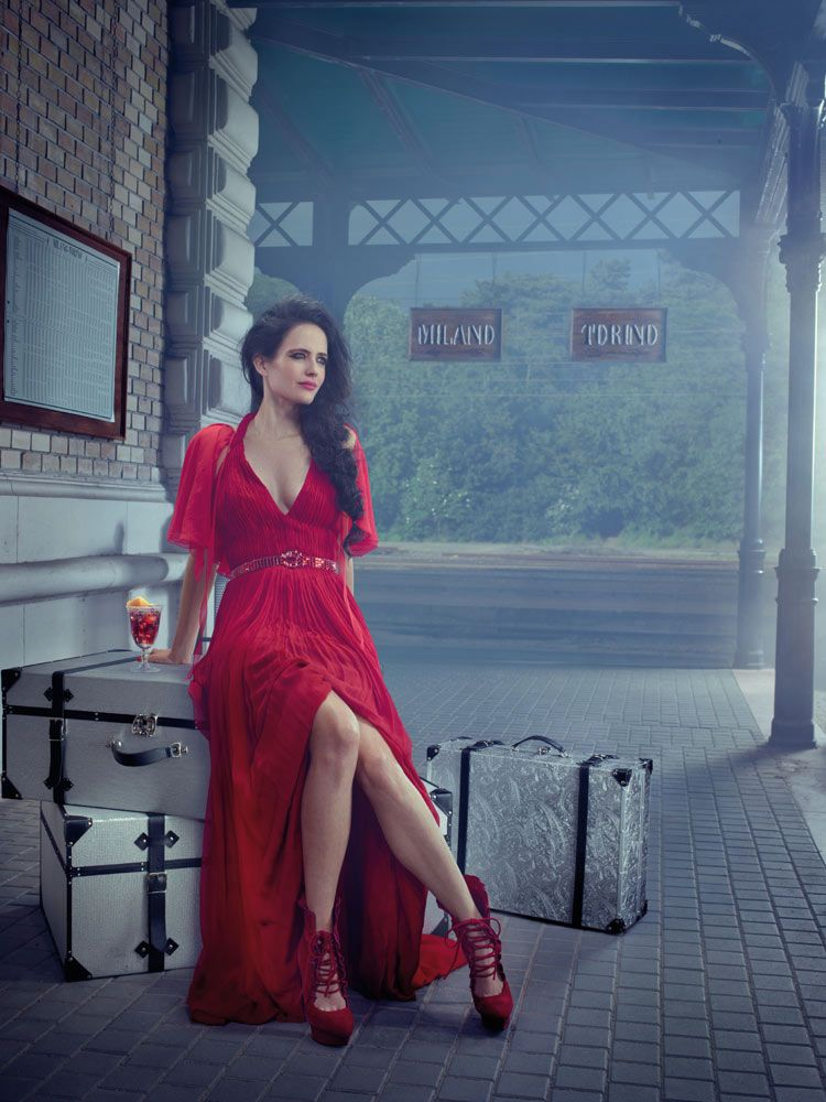 1265b7c902 Eva Green wearing Andrew Gn dress and John Galliano cape for the Campari  Calendar 2015
