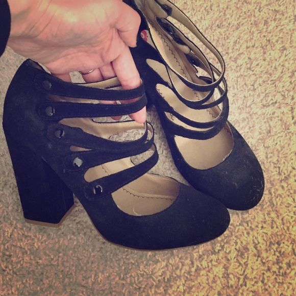 Black strap up button up heel Chunky heel strap up button up heels comfortable cute little black heels only worn once purchased in Nordstrom bp Shoes