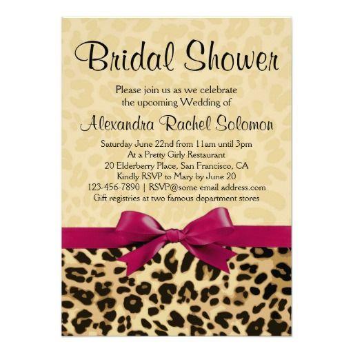 Leopard Print Hot Pink Bridal Shower Invitation