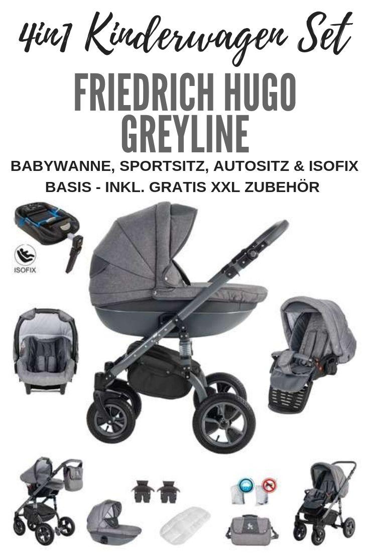 Friedrich Hugo Greyline 4 In 1 Kombi Kinderwagen Luftreifen Isofix Basis Autositz Farbe Black Erstausstattung Babyausstattung Kinderwagen Set
