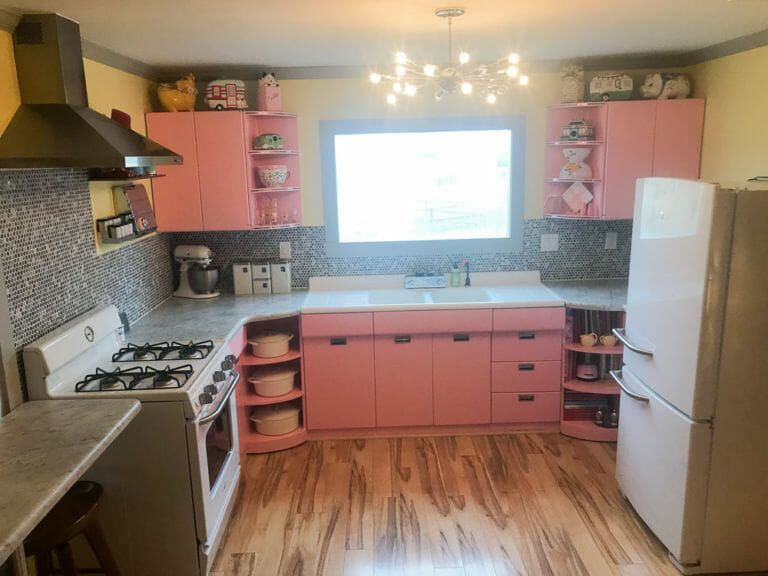 1953 Sears steel kitchen cabinets - painted pink - take ...