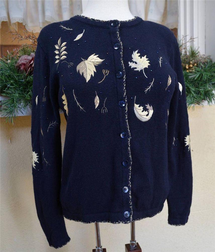 Christopher Banks Falling Leaves Embellished Cardigan Sweater S ...