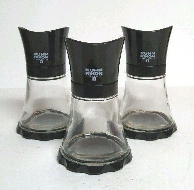 Kuhn Rikon Vase Grinder Black Table Salt Pepper Spice 3pc Set 5